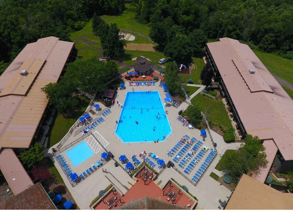 Aerial of Salt Fork Park lodge and pool
